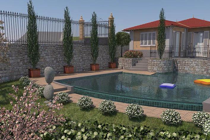 Sanremo vendesi terreno con progetto approvato per VILLA, piscina e vista mare